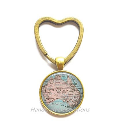 Australia Map Key.Amazon Com Charming Heart Keychain Australia Map Key Ring