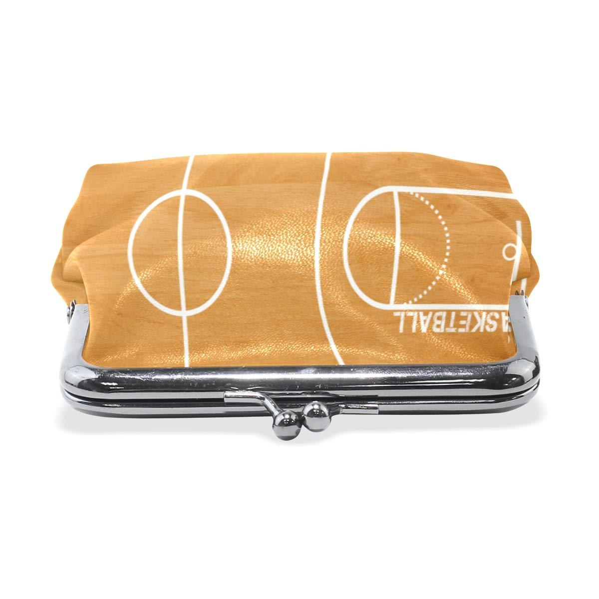 Basketball Field Plan Coin Purse Buckle Vintage PU Pouch Kiss-lock Wallet for Women Girl