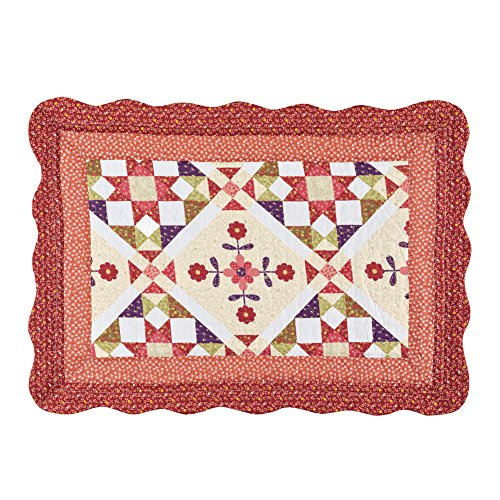 (Collections Etc Aubree Geometric Florals Pillow Sham with Light Diamond Patch Patterns, Quilted Stitching, Double Bordered Scalloped Edges, Red, Peach, Burgundy)