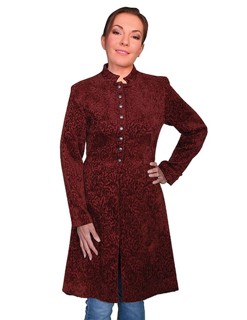 WahMaker by Scully Women's Old West Chenille Heritage Coat Wine 8