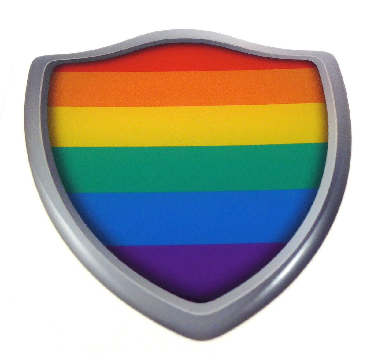 Pride Lesbian Gay Flag Shield Domed Decal 3D Look Emblem Resin car Sticker 2.6x3