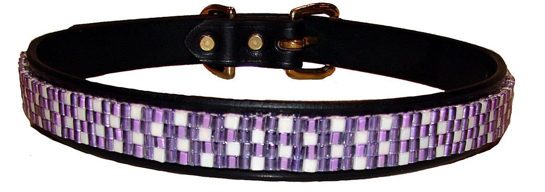 Just Fur Fun Dog Collar, Purple Jewel, 26-Inch, Black Leather