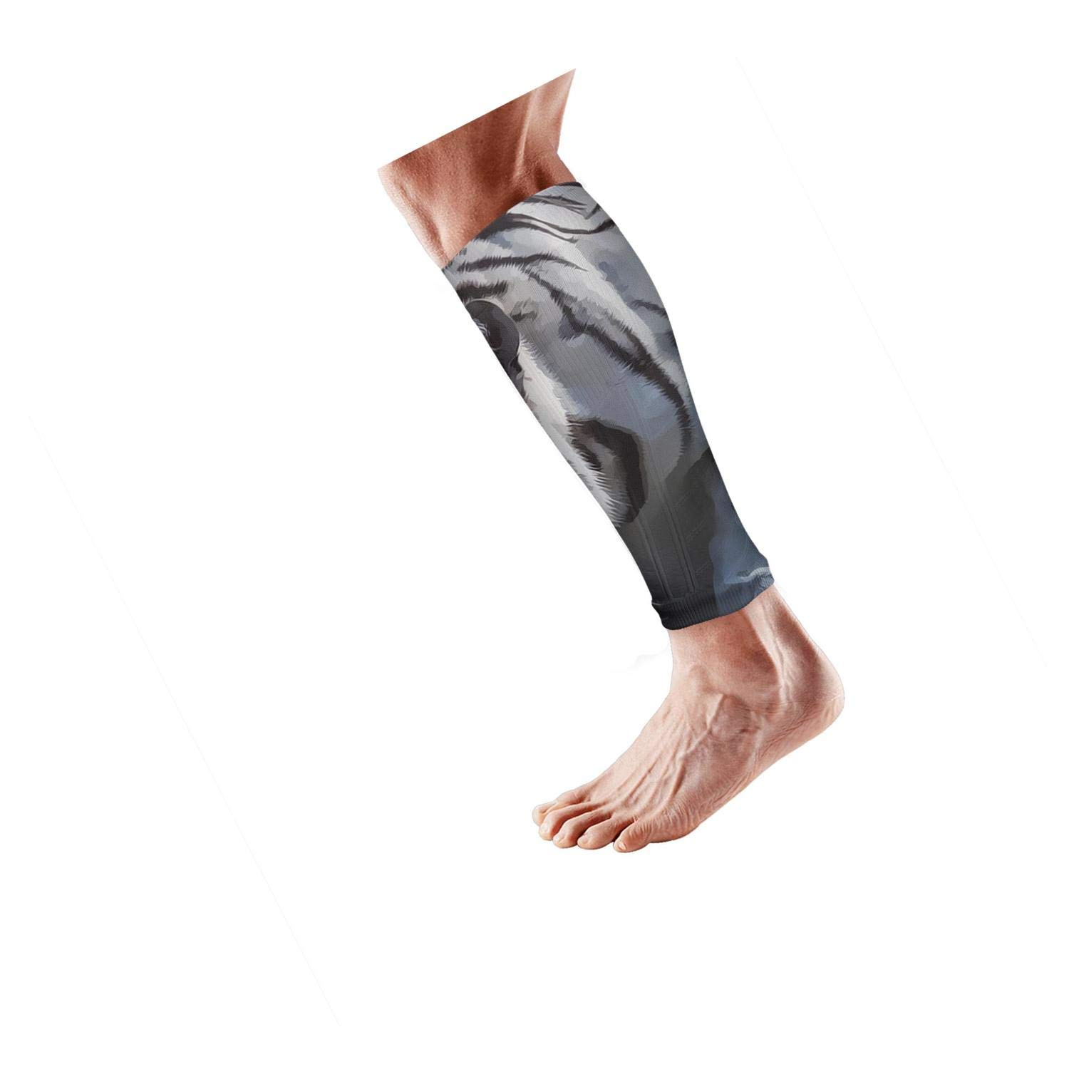 Smilelolly Arts white tiger Calf Compression Sleeves Helps Shin Splint Leg Sleeves for Men Women