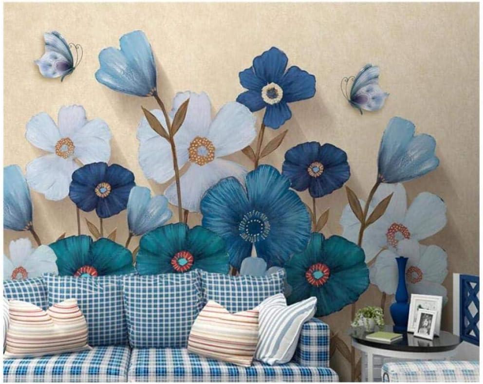 Fotomurales Decorativos Pared Vinilos Decorativos Papel Fotografico 3D Mural De Cartel De Flor De Pintura De Acuarela Azul Papel Pintado Cuadros Habitacion Bebe Posters Mural Pared