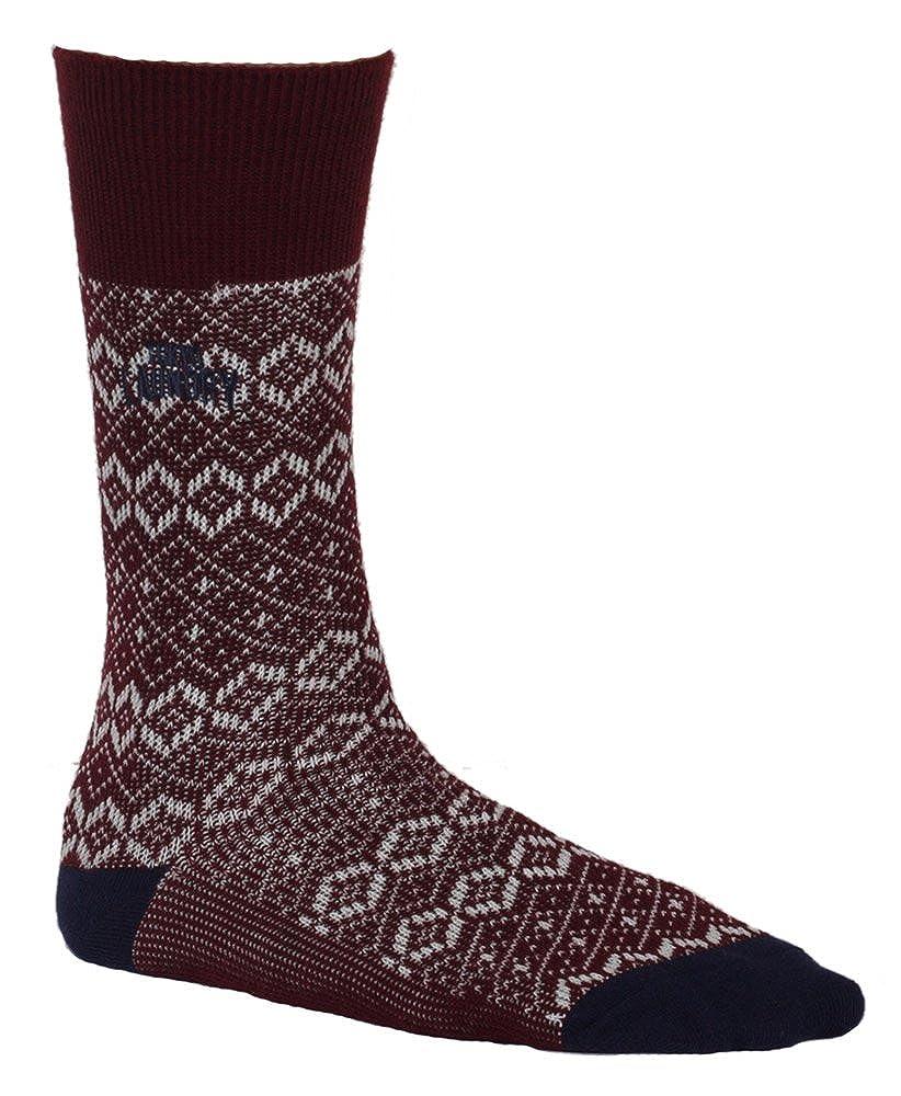 Para hombre auténtica Original Tokyo Laundry 2 Pack de Staffa Patterned calcetines de algodón suave Rojo Oxblood: Amazon.es: Ropa y accesorios