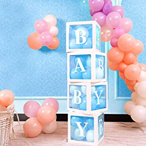 OurWarm Baby Shower Boxes Party Decorations, DIY Transparent Balloons Boxes with Letter for Boys Girls Baby Shower Birthday Party Decoration Gender Reveal Backdrop, Baby Blocks for Baby Shower, Set of 4