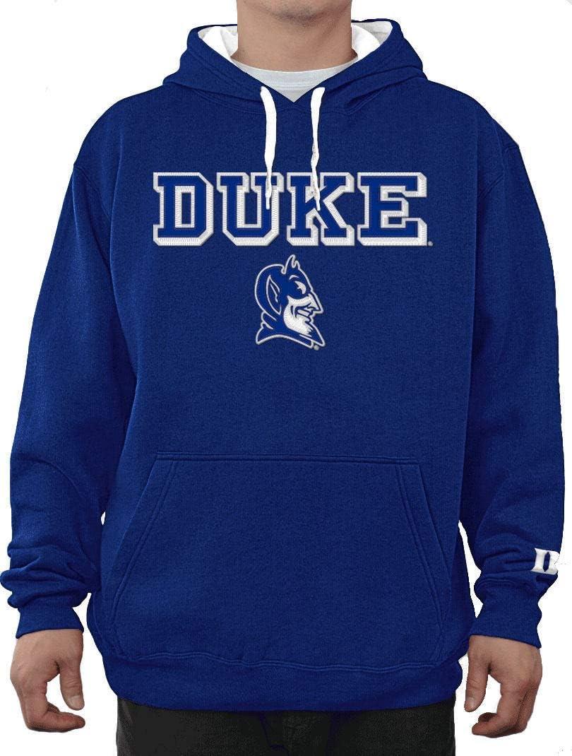 E5 NCAA Duke Blue Devils Mens Royal Embroidered College Classic Hoodie Sweatshirt