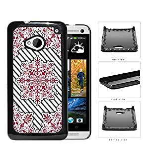 Red Victoria Damask With Black Stripes Hard Plastic Snap On Cell Phone Case HTC One M7