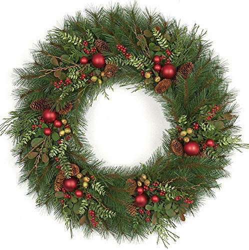Mikash 36 Artificial Long Needle Pine, Pinecone, Berry Cedar Hanging Wreath -Green/R | Model WRTH - 180 ()