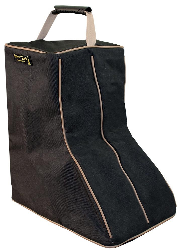 Paris Tack 3 Layer Padded Back Open Western Boot Bag, Black/Beige Trim