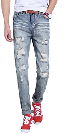 df0d5fd842fe OKilr Pjik Men s Vintage Blue Straight Slim Fit Ripped Distressed Repair Jeans  With Holes Blue