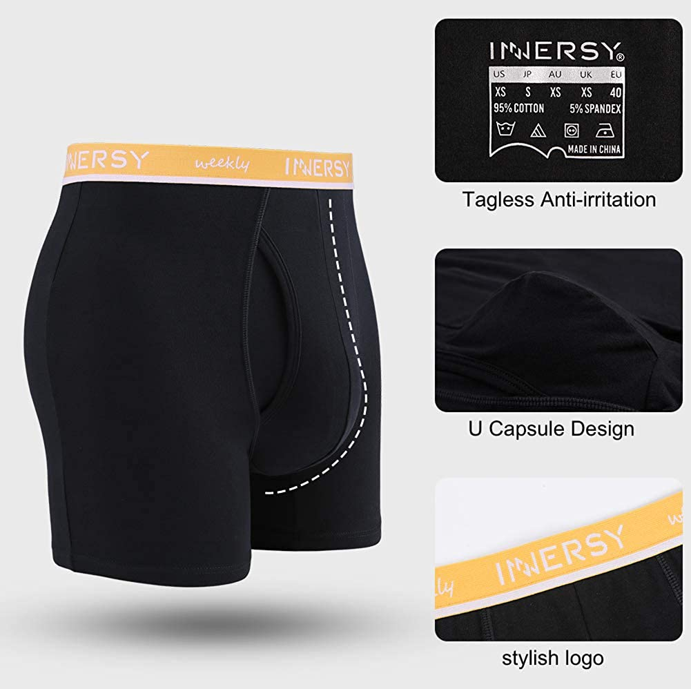 INNERSY Mens Boxer Briefs Cotton Stretch Regular Long Open Fly Pouch Underwear