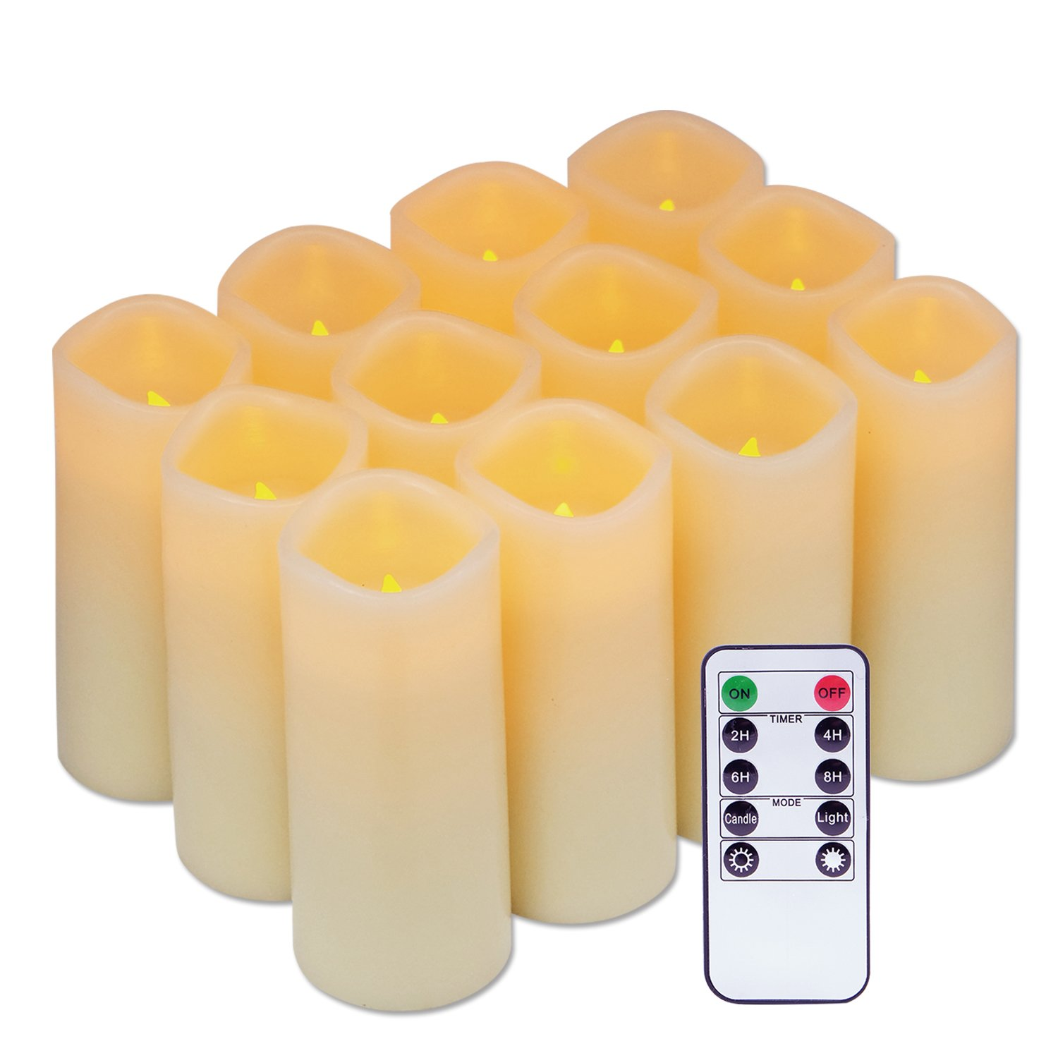 Eldnacele Flameless Candles Flickering Real Wax LED Battery Operated Candles Set of 12 D2.2 X H5 Pillar Candles Ivory Warm Light with Remote Control and Timer for Home and Wedding Decoration