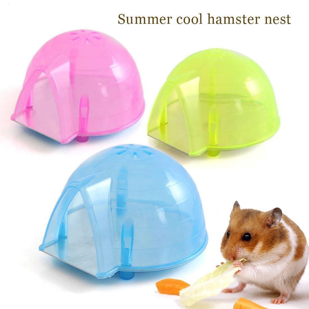 HYGMall 1 PC Chambre d'Hamster Cage Hamster Maison Fraîche Petit Ice Ice Disponible Dans Une Plaque De Métal Ours D'or
