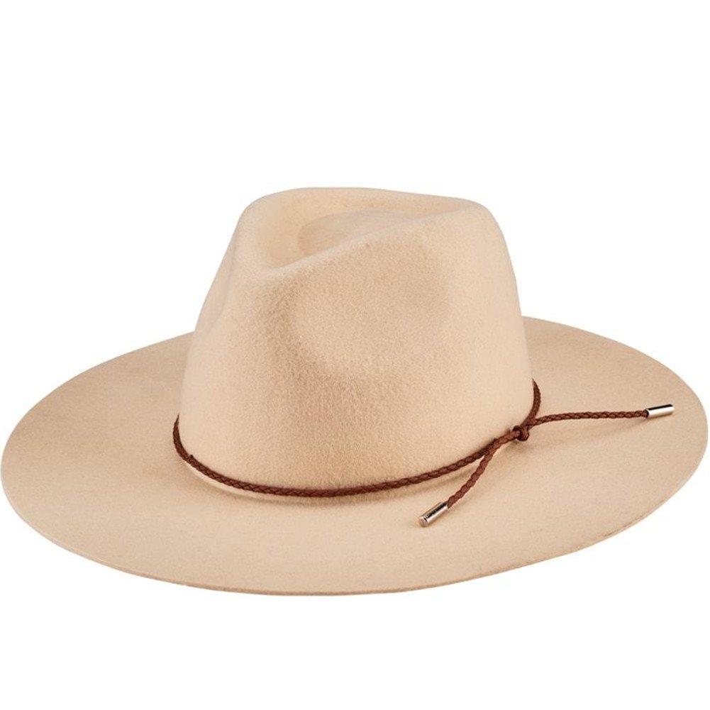 San Diego Hat Company Women's Braided Trim Floppy Fedora Hat, Bone, One Size