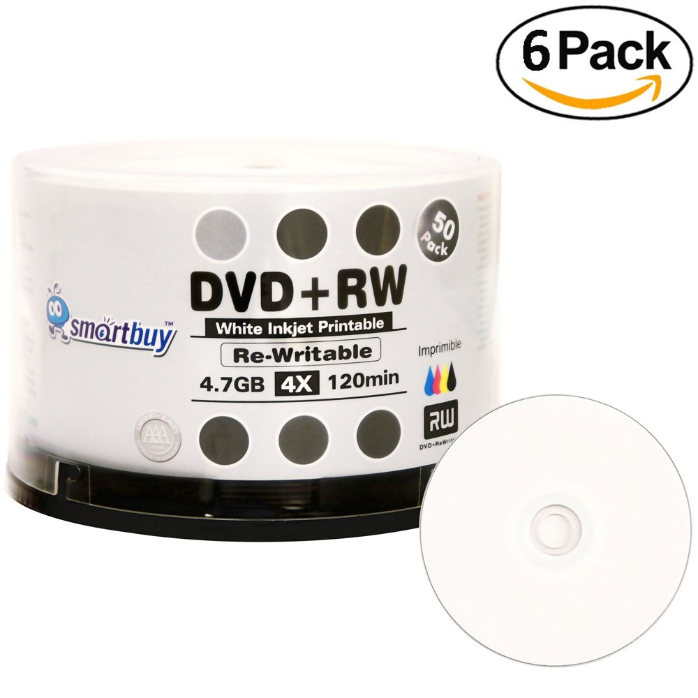 300 Pack Smartbuy Blank DVD+RW 4x 4.7GB 120Min White Inkjet Hub Printable Rewritable DVD Media Disc