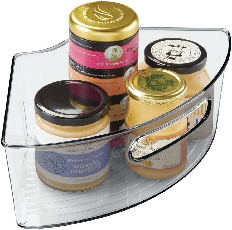mDesign Deep Plastic Kitchen Cabinet Lazy Susan Storage Organizer Bin with Front Handle - Small Pie-Shaped 1/4 Wedge, 4
