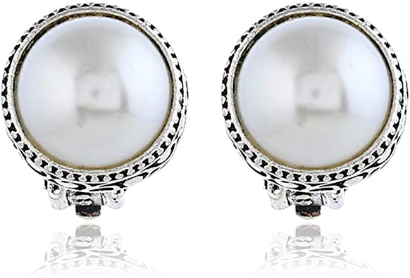 bride bridal Glass pearl dangle clip-on earrings with gold rondelles