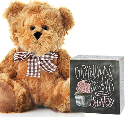 Grandma Plaque and Bear - Grandma Christmas Gift Birthday Mother's Day Present Grandparent from Granddaughter Grandson
