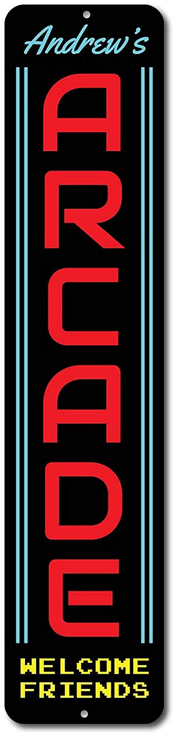 Game Room Sign T56imh Arcade Sign Vertical Arcade Rooms Metal Sign-Quality Aluminum Gamer Gift Family Game Room Decor Custom Arcade Decor