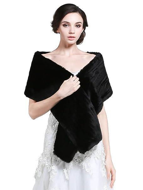 Chal de Aukmla, para novia, para mujer, de piel sintética, abrigo para los hombros en bodas Negro negro Tamaño libre: Amazon.es: Ropa y accesorios