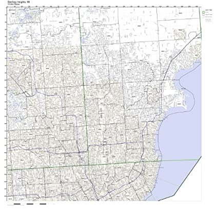 Sterling Heights Zip Code Map.Amazon Com Sterling Heights Mi Zip Code Map Laminated Home Kitchen