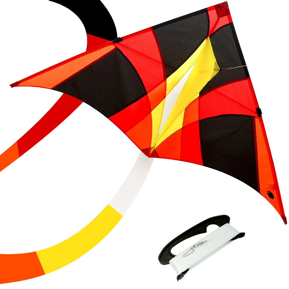 emma kites Delta FIREBIRD Kite 60in Easy Fly for Kids Adults and Beginners - Funny for Toys Games and Outdoor Activities |RTF| Kit Including Kite Tail & 320ft Kite String