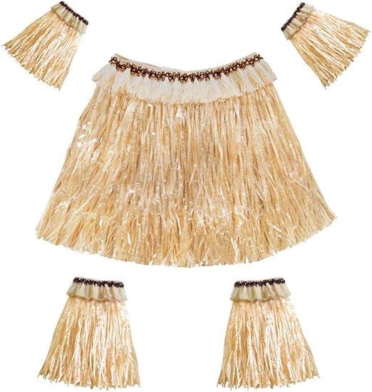 AOLVO Falda hawaiana de hula para mujer y hombre, fibra de ...