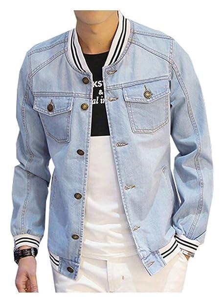 Amazon.com: LifeHe Denim Bomber - Chaqueta para hombre: Clothing