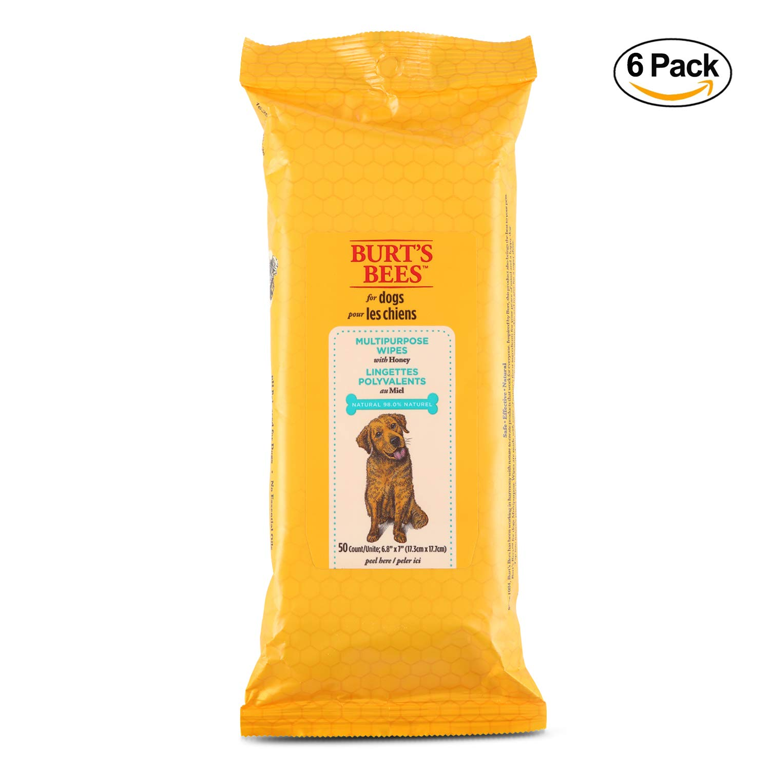 Burt's Bees For Dogs Multipurpose Grooming Wipes | Puppy and Dog Wipes For Cleaning, 50 Count - 6 Pack