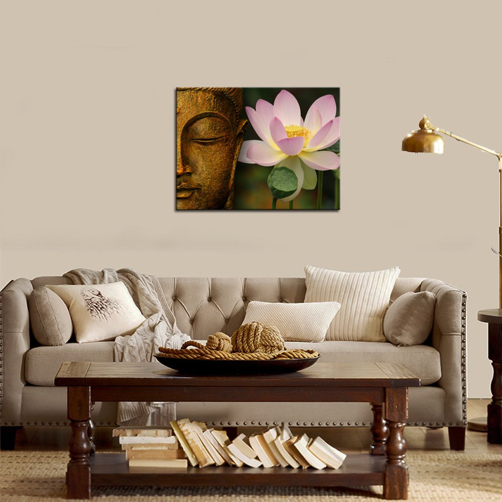 sechars – Buddha Canvas Wall Art Pink Lotus Flower Picture Canvas Prints Gold Buddha Painting for Home Living Room Office Decor Peaceful Zen Artwork Ready to Hang