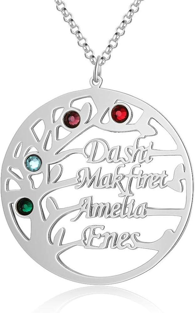 KAULULU Collar Personalizado Mujer del árbol de Vida Pendientes 925 Plata con 2 a 4 Nombres de Familia Piedra Joyería Regalos de Cumpleaños Personalizados para Mujer Mama BFF