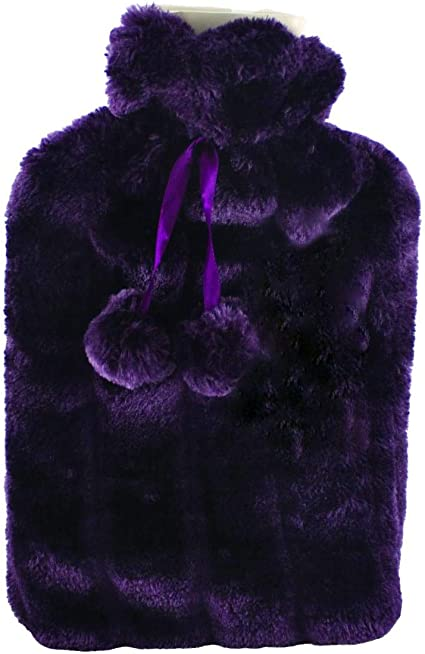 Large HOT Water Bottles with Luxury Faux Fur and Pom Poms 2L Litre Lilac