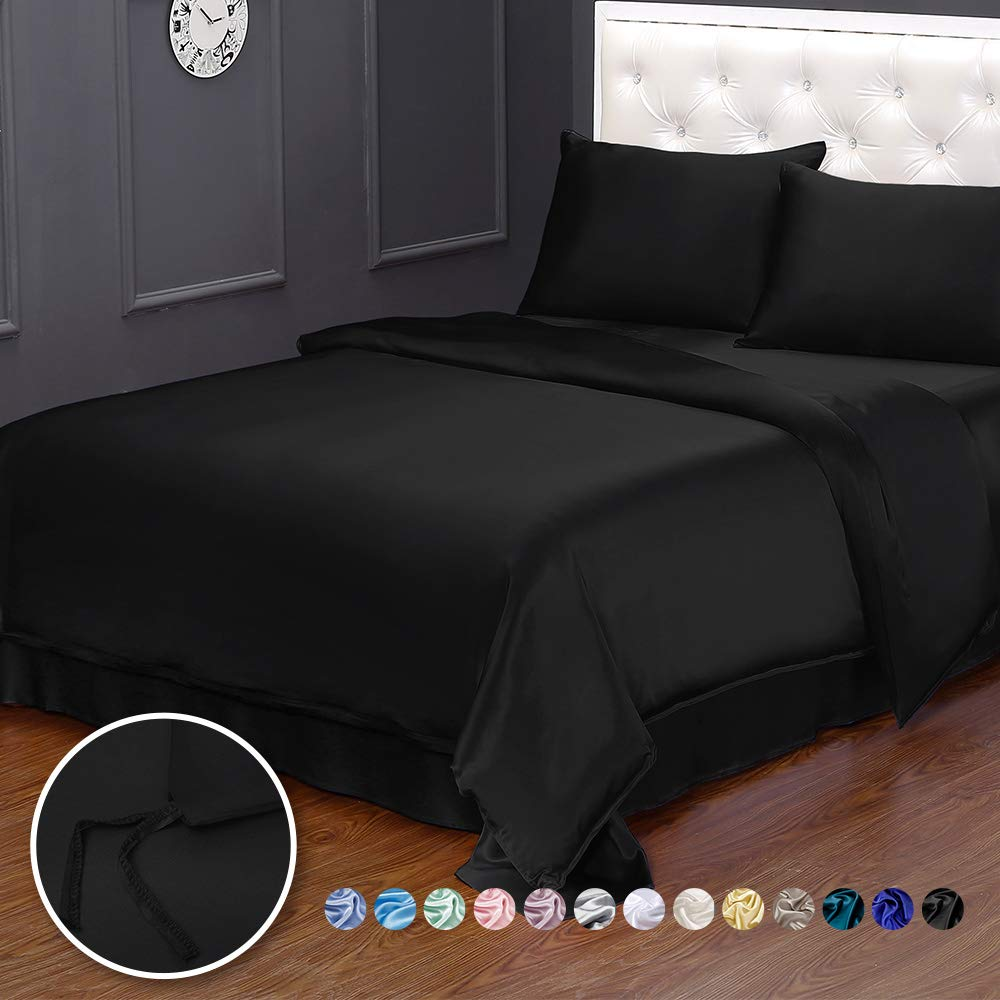 LilySilk Black Silk Duvet Cover for Queen Bed 19 Momme Silk Comforter Covers