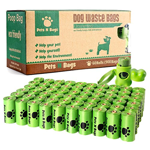 Pets N Bags Dog Waste Poop Bags, Refill Rolls (60 Rolls / 900 Count, Unscented), Includes (Pet Refill)