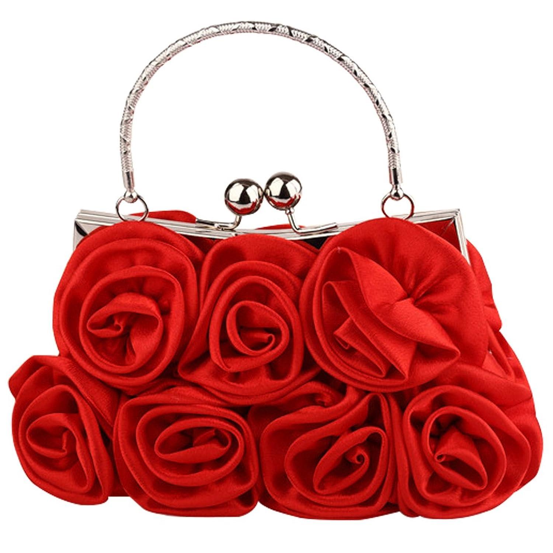 Tina Women's Elegant Satin Roses Wedding Evening Clutch Handbag