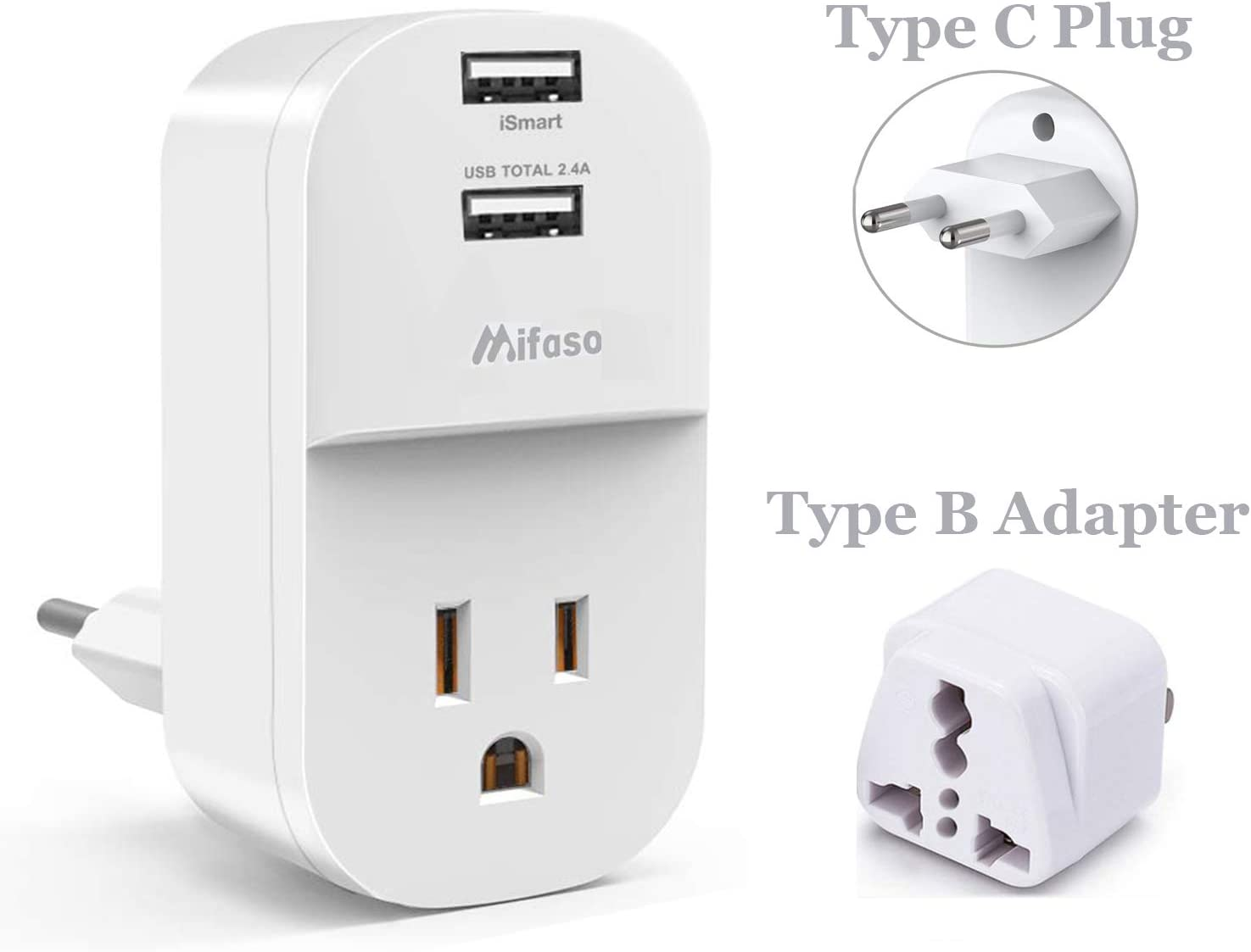 Mini Type C EU Adapter for Italy France Finland Spain Germany Sweden Greece US Charger Plug for Home Universal Adapter with 1 AC Outlet 2 USB Ports European Adapter US to Europe Travel Plug Adapter