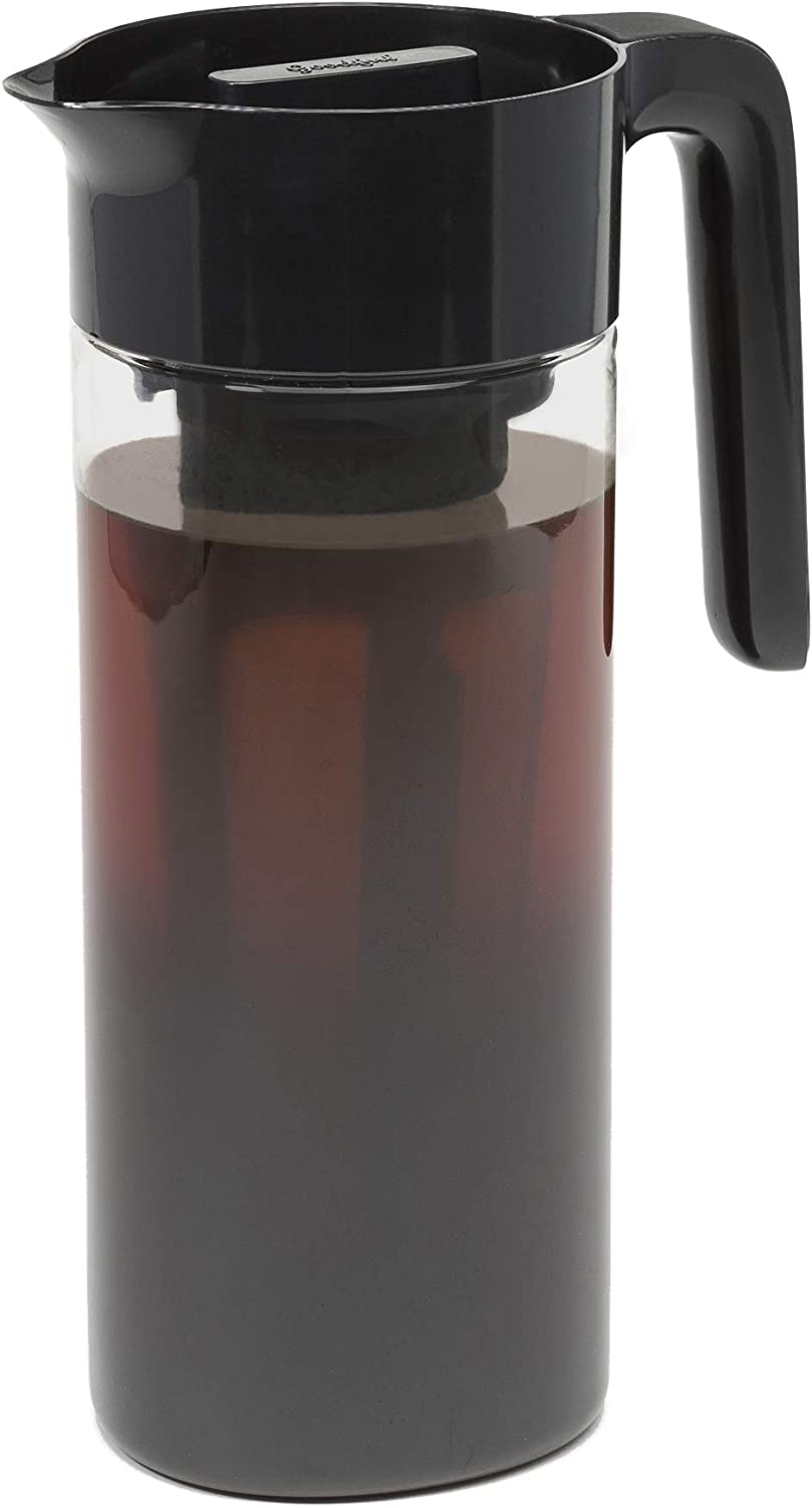 Goodful Airtight Cold Brew Iced Coffee Maker, Shatterproof Durable Tritan Plastic Construction, Leak-Proof Lid, Large Capacity with Premium Stainless Steel, 2.25 Qt, Black