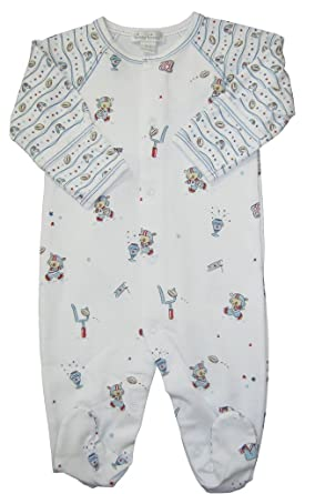 cdf6eda187e Amazon.com  Kissy Kissy Baby-Boys Infant First Down Print  Footie-Multicolored-Newborn  Clothing