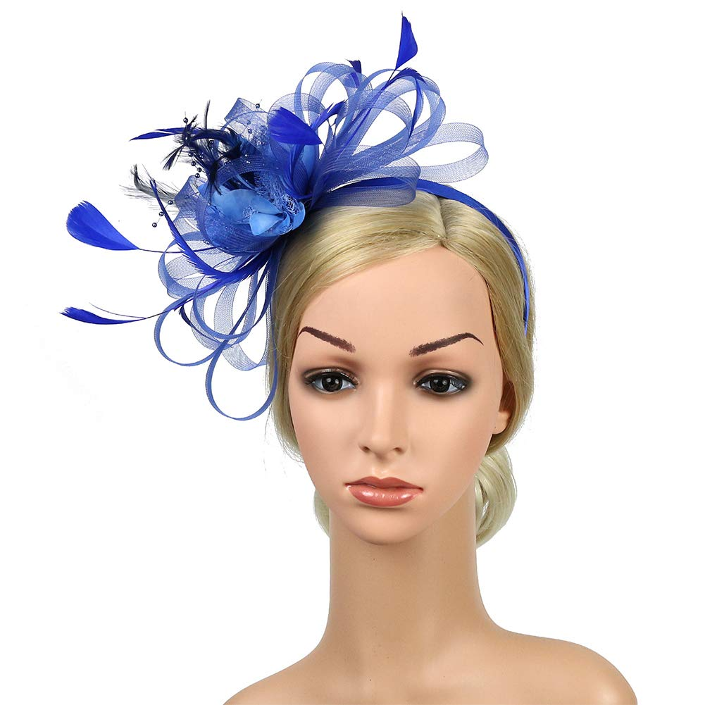 per Matrimonio con Piume Artificiali Fascia per Capelli Kentucky Derby HINMAY Fascinators Cappello da Donna Blue Cocktail Taglia Libera