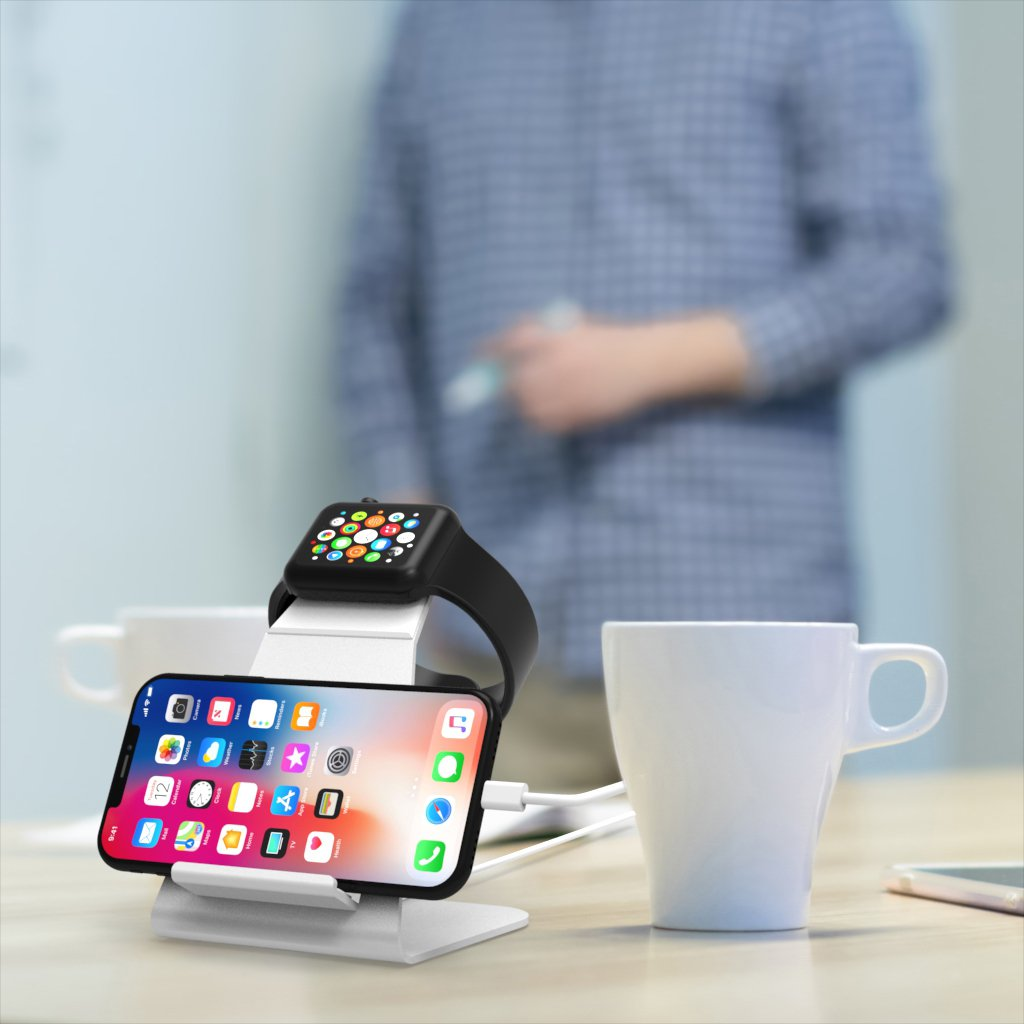XUNMEJ Watch Stand for Apple Watch Charging Dock Stand Bracket Station Holder for Apple Watch Series 3/Series 2/ Series 1 (42mm 38mm) iPhone X 8 8plus 7 7plus 6S 6plus (Sliver) by XUNMEJ (Image #6)