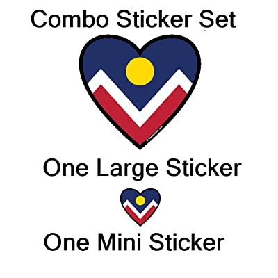 Denver Colorado Sticker | Heart-Shaped Emblem City Flag | New Eurocal Oval | Apply to Mug Phone Laptop Water Bottle Decal Cooler Bumper | 303 14er Rockies Bronco Nugget Mile High CO RMNP Este Park: Automotive