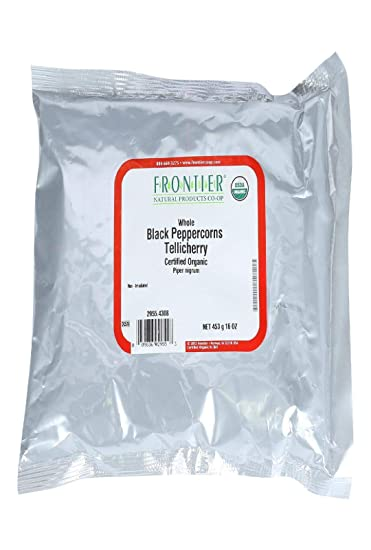 Frontier Co-op Peppercorns, Black Whole, Tellicherry, Certified Organic, 1  pound, 16 ounces