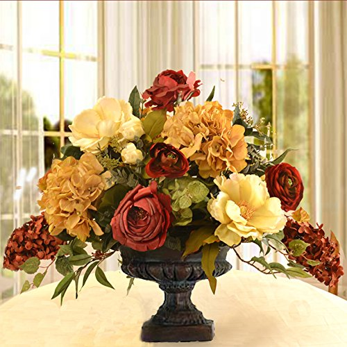 Elegant Silk Flower Arrangement with Hydrangeas, Magnolias and Roses (Hydrangea Silk Flowers In Vase)