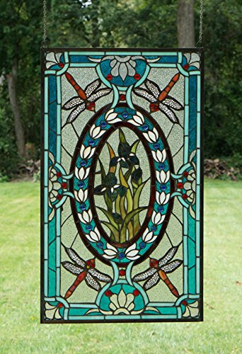 Tiffany Style stained glass window panel Dragonfly & Iris Flowers,20.5