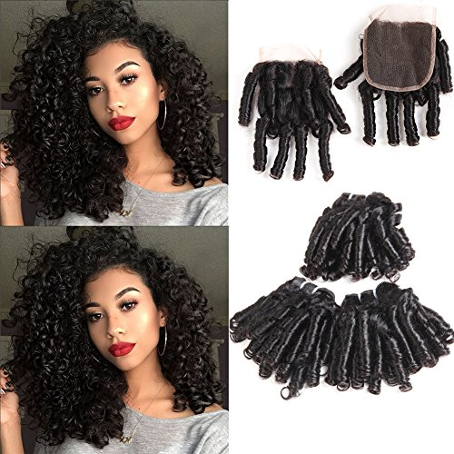 PANEWAY Funmi Curly Human Hair Brazilian Virgin Hair Bouncy Curl With 4x4 Closure Natural Black Unprocessed Remy Hair 3 Bundles Spiral Bouncy Curls 50g/PC Brazilian Virgin Hair Weft (8 8 8 +8)