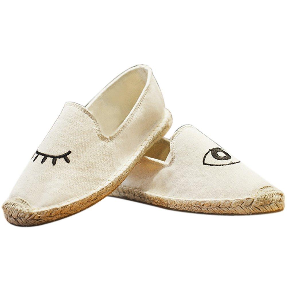 QZUnique Women's Classic Canvas Flats Slip On Daily Shoes Glasses US 7.5