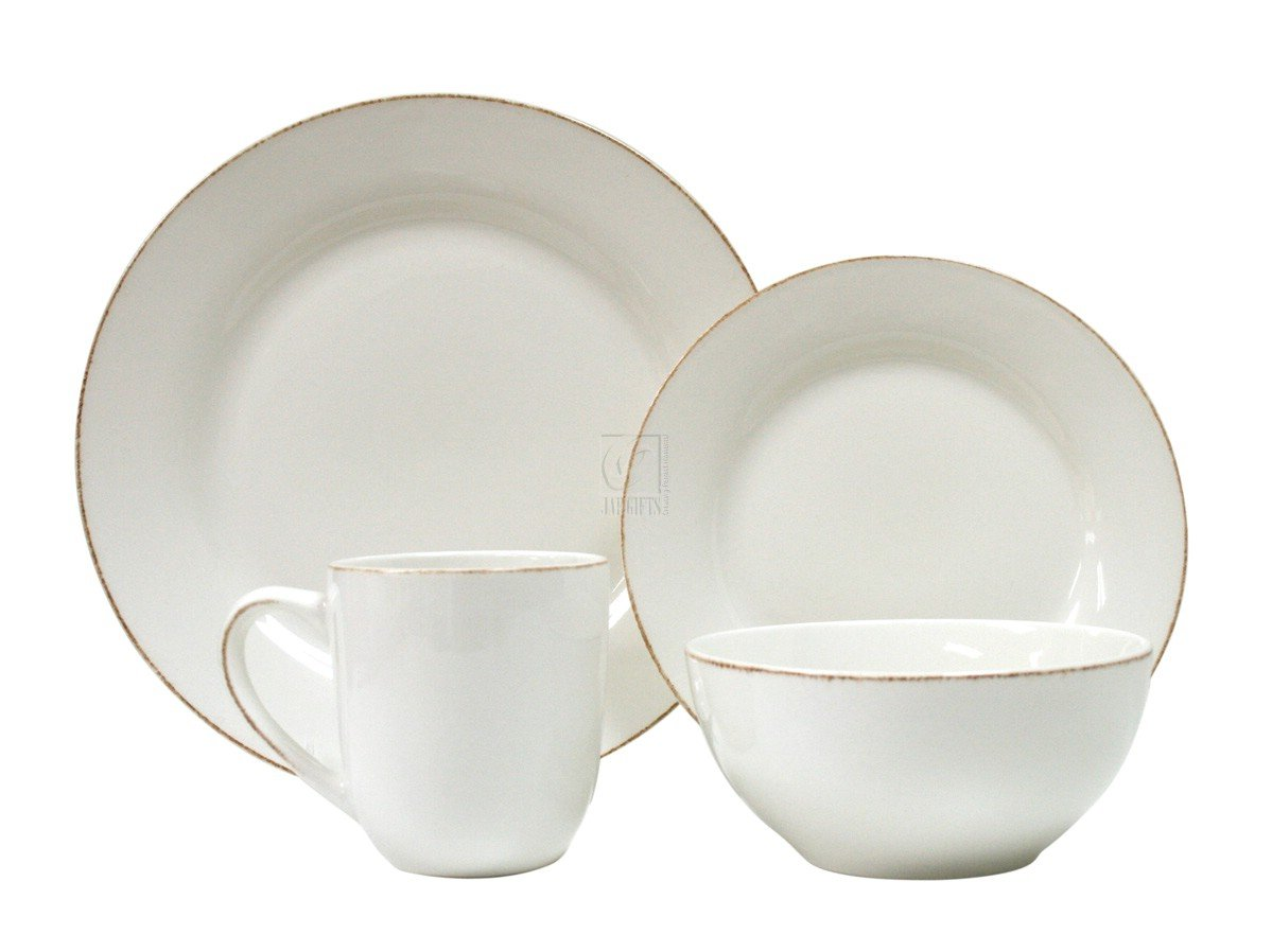 Amazon.com | Thomson Pottery Sonoma White 16 Piece Dinnerware Set ...