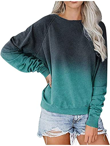 Womens Casual Crew Neck Long Sleeve Gradient Contrast Color-Block Pullover Tie Dye Blouse Loose Tops