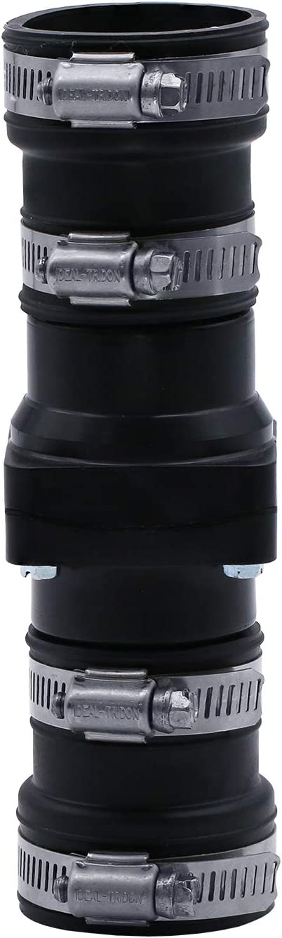 Fernco CV-200 2 Inch x 2 Inch Sewage PVC Check Valve with Stainless Steel Clamps